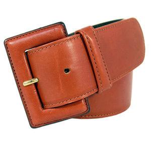 BALLY Wide Terracotta Leather Waist Belt Women's M